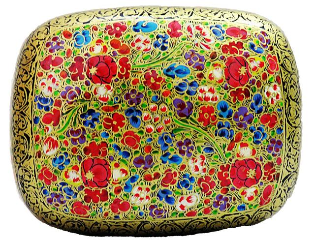 IndicHues Handpainted 4*3 inch Paper Mache Trinket Jewelry Box