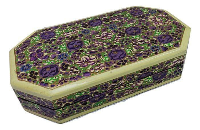 IndicHues Decorative Paper Mache Jewelry Box with Velvet Lining