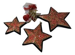 IndicHues Handmade Paper Mache Chritmas Tree Decorative Star set