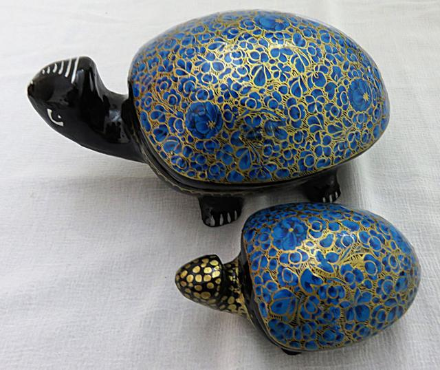IndicHues Handmade Paper Mache Tortoise set in Blue floral motif from Kashmir