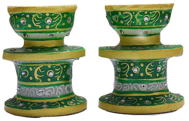 IndicHues Marble Candle Holder pair in green