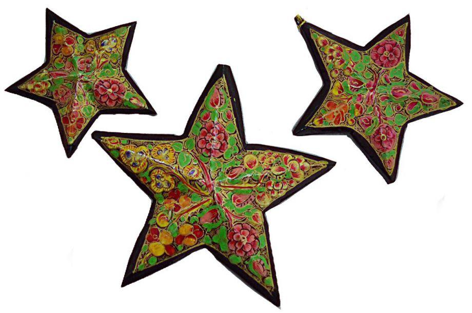 IndicHues Handmade Paper Mache Chritmas Tree Decorative Star set