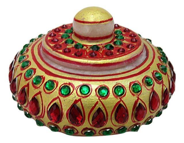 IndicHues Handmade Traditional Marble Sindoor Dani With Meenakari work