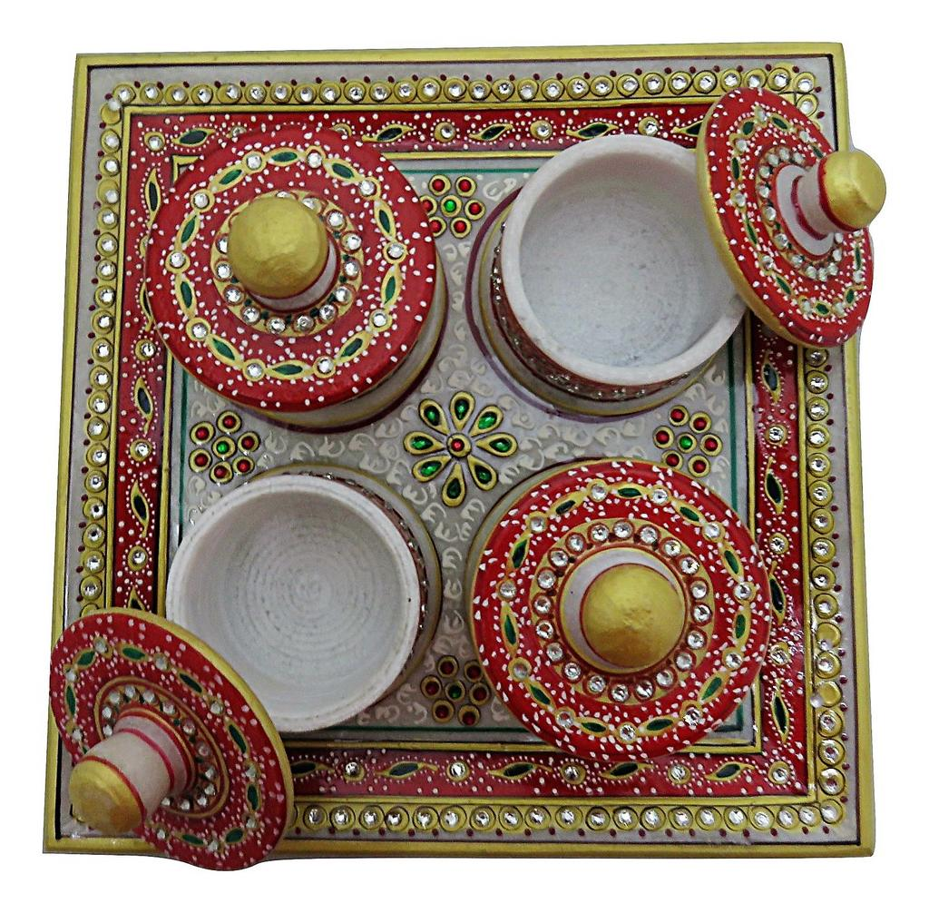 IndicHues Handmade Marble Dry Fruit  Box / Mouth Freshner Box - 4 containers and 1 Tray