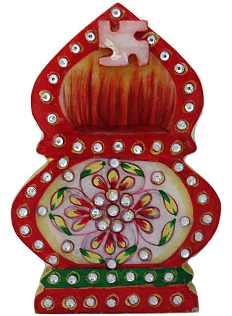 IndicHues Traditional Rajasthani Handicraft Marble Pooja Chopad in Kaslash design for Tilak / Roli/ Kumkum and Rice