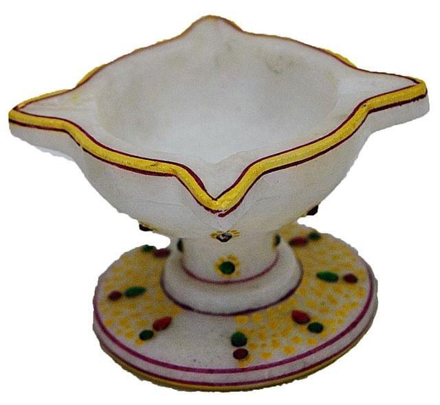 IndicHues Hamdmade Marble Chaumukha Diya, large