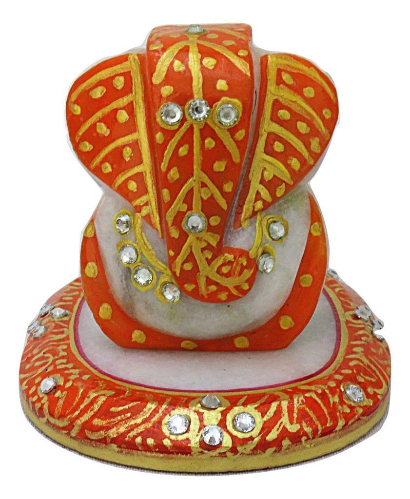 IndicHues Handmade Marble Ganesha with Chowki