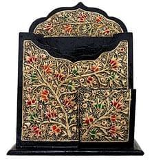 IndicHues Handmade Paper Mache -Pen Paper Desk Organizer from Kashmir