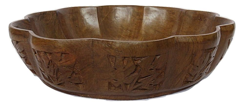IndicHues Wooden Hand Turned Bowl With Side Carving