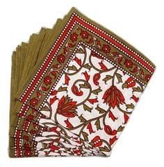 IndicHues Screen Printed Cotton Table Napkins in Set of 6 from Rajasthan