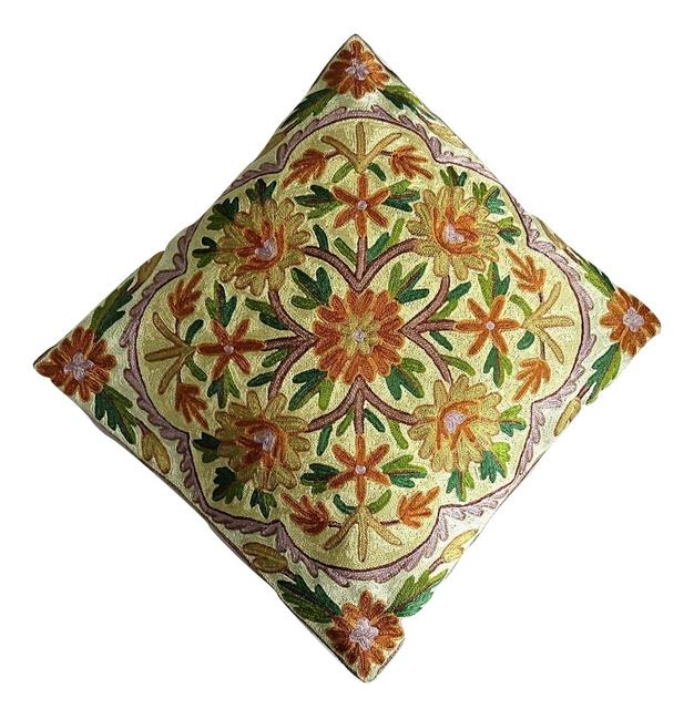 IndicHues Hand Embroidered  Kashmiri Crewel  Floral 16x16 Cushion Cover