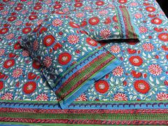IndicHues Handmade Hand Block Printed Double Bedsheet with two pillow covers in Red Floral Motifs With Green Base