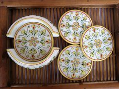IndicHues Handmade White Marble Coaster with Meenakari Stone work, set of 6,For Drink,Cocktail, Coffee, Dinning Table