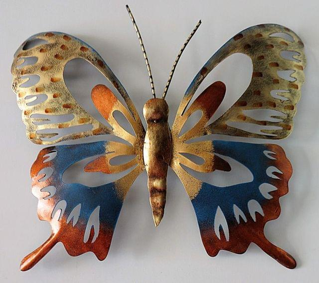 IndicHues Handmade Wrought Iron Contemporary Butterfly Wall Art