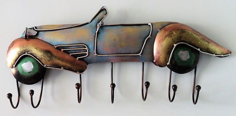 IndicHues Wrought Iron Handicraft Wall Art in  Decorative Car Wall Key Holder & Hook Hanger shape