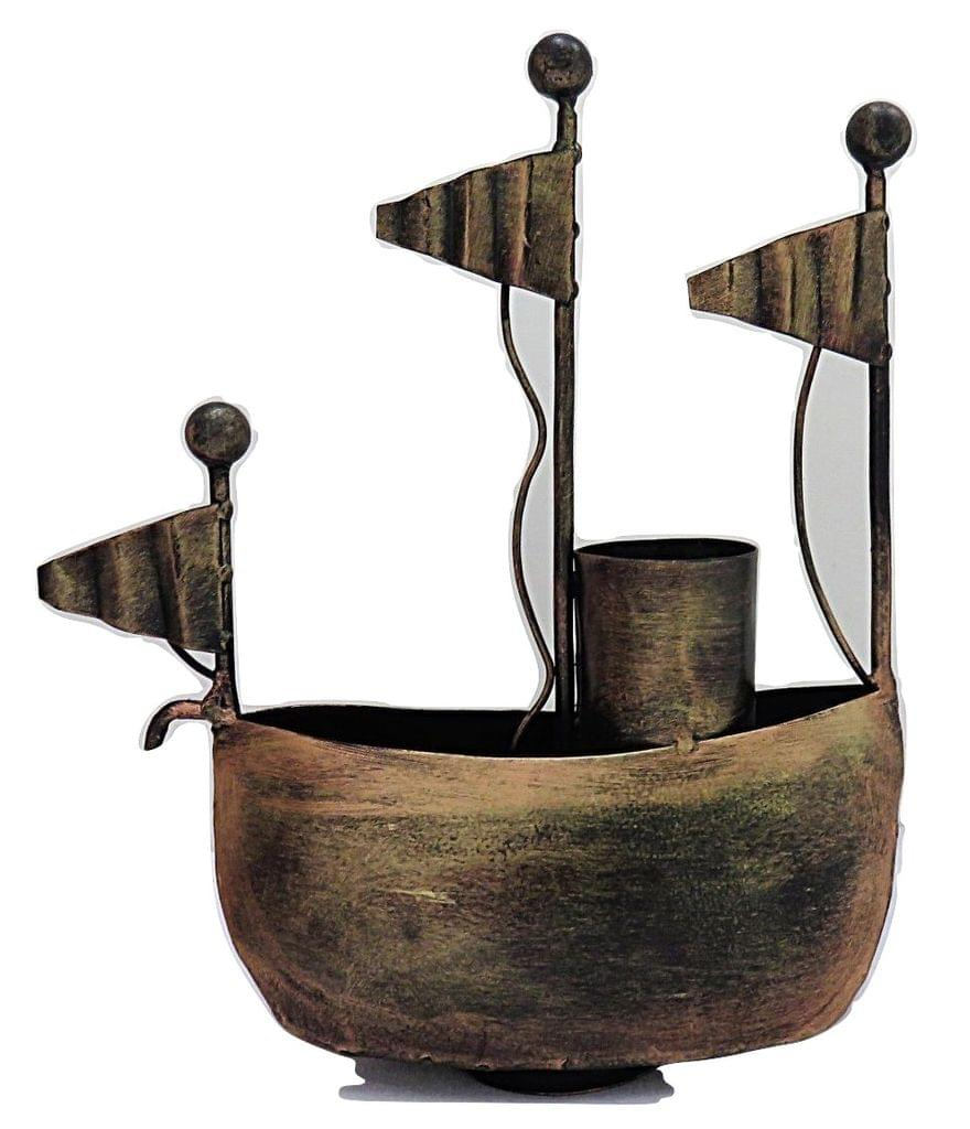 IndicHues Handmade Wrought Iron Ship Pen Stand