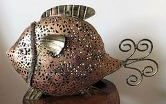 IndicHues Handmade Wrought Iron Fish Candle Holder