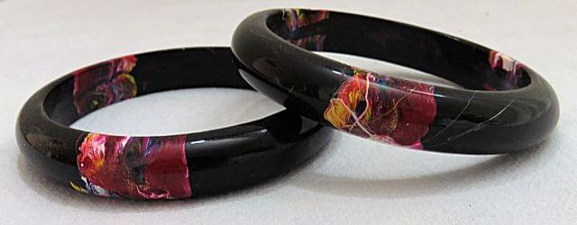 IndicHues Stylish Handmade Black Lac Bangles Set of 2 from Rajasthan