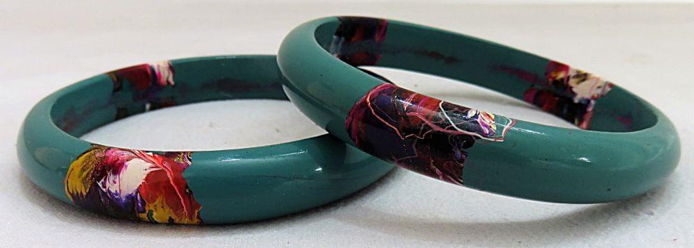 IndicHues Stylish Handmade Blue Lac Bangles Set of 2 from Rajasthan.