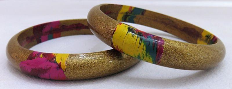 IndicHues Stylish Handmade Golden Lac Bangles Set of 2 from Rajasthan.