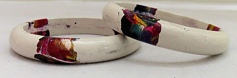 IndicHues Stylish Handmade White Lac Bangles Set of 2 from Rajasthan