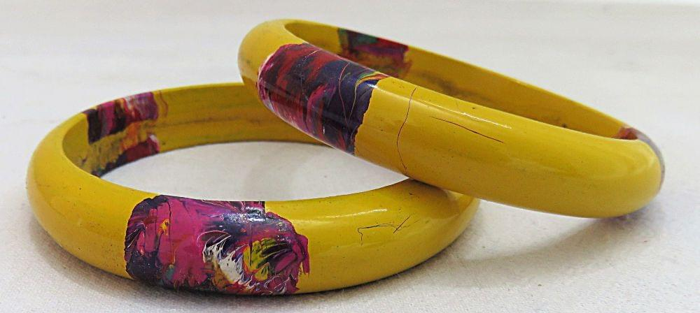 IndicHues Stylish Handmade Yellow Lac Bangles Set of 2 from Rajasthan