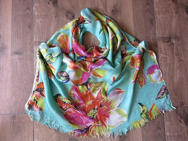 IndicHues soft, lightweight, breathable Rayon Stole in Floral Motifs on Green base