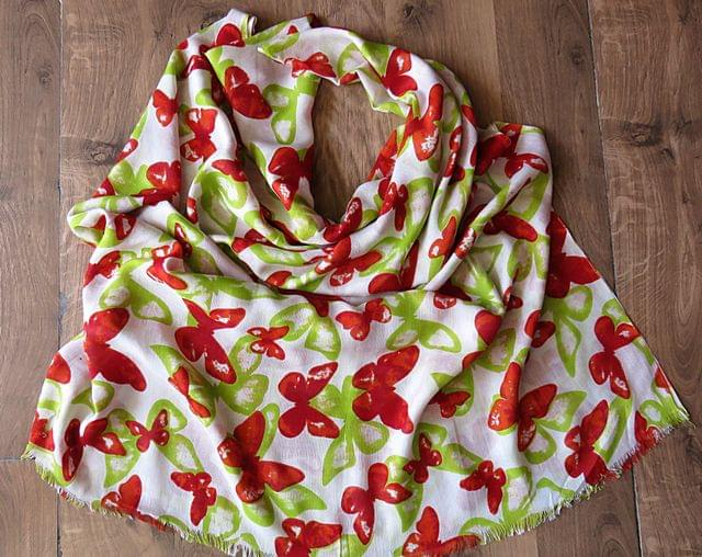 IndicHues soft, lightweight , breathable Rayon Stole in Red & Green Butterfly Design