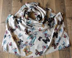 IndicHues soft, lightweight ,breathable Rayon Stole with Butterflies on Brown Base