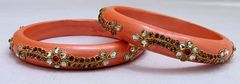IndicHues Handmade Peach Lac Bangles with stone work in set of 2 from Rajasthan