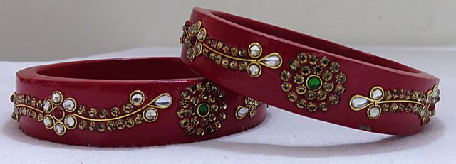 IndicHues Handmade Red Lac Bangles with stone work in set of 2 from Rajasthan