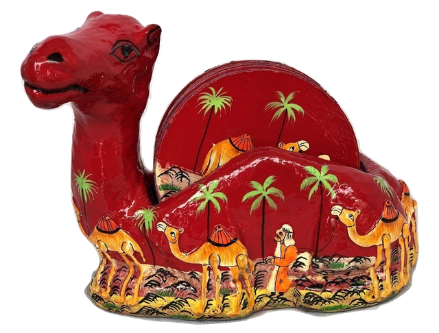 IndicHues Floral Handpainted Paper Mache Coaster set in Camel shape