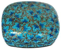 IndicHues Handmade Rectangular Blue Floral Motif Paper Mache Jewelry Box from Kashmir