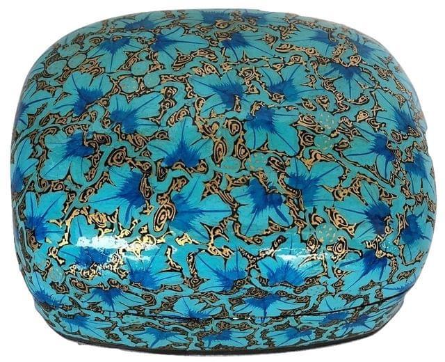 IndicHues Handmade Rectangular Blue Floral Motif Paper Mache Jewelry Box from Kashmir