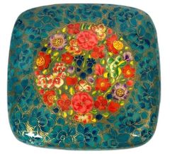 IndicHues Handmade Blue Floral Motif Paper Mache Jewelry Box from Kashmir