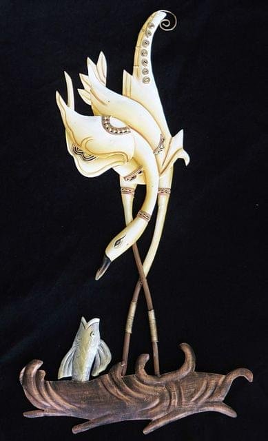 IndicHues Cream Color Swan Feeding the Fish in Wrought Iron