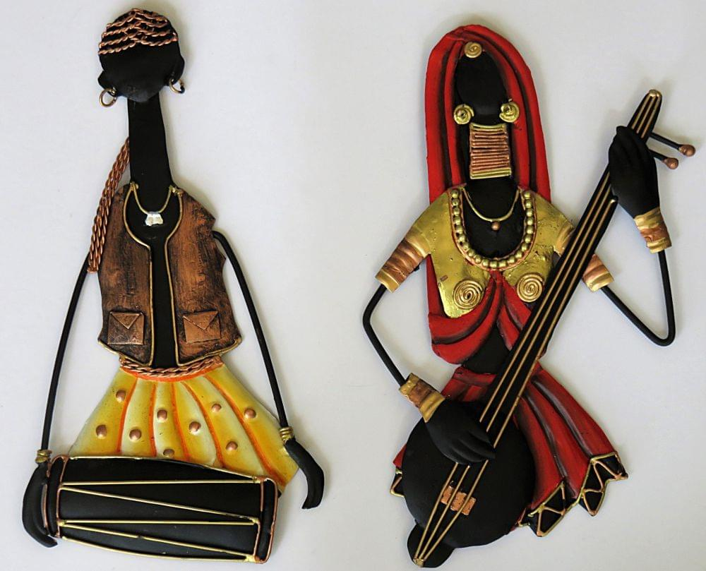 IndicHues Tribal Musician Couple Wrought Iron Wall Art