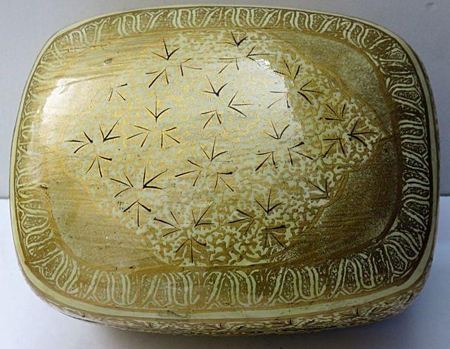 IndicHues Handmade Rectangular Golden Floral Paper Mache Jewelry Box from Kashmir