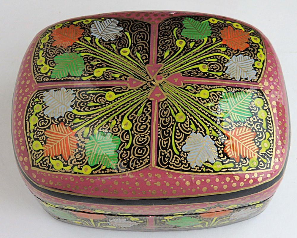 IndicHues Handmade Rectangular Chinar Leaves on Pink Base Paper Machie Jewelry box from Kashmir