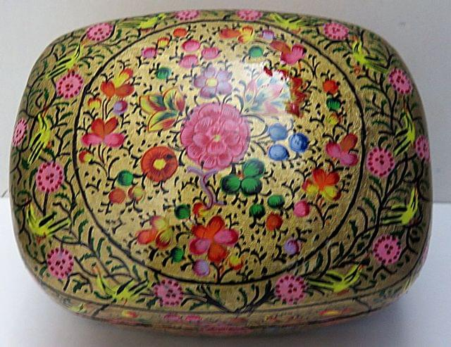 IndicHues Handmade Rectangular Floral Motif  with Golden Base Paper Mache Jewelry Box from Kashmir