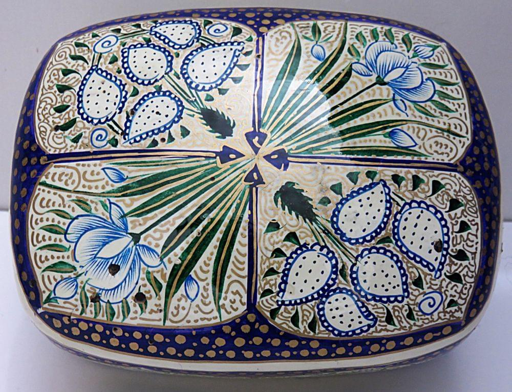 IndicHues Handmade Rectangular White Blue Floral Motifs Paper Mache Jewelry Box from Kashmir
