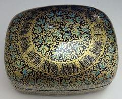 IndicHues Handmade Rectangular Blue Golden Chinar leaves Paper Mache Jewelry Box from Kashmir