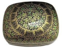 IndicHues Handmade Rectangular Green Golden Chinar leaves Paper Mache Jewelry Box from Kashmir