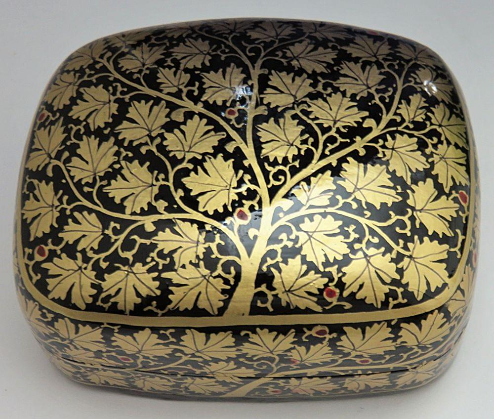 IndicHues Handmade Rectangular Golden Leaves with Black Base Paper Mache Jewelry Box from Kashmir