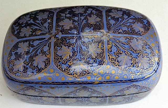 IndicHues Handpainted Rectangular Blue Chinar Design Paper Mache Jewelry Box from Kashmir