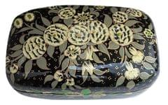 IndicHues Handmade Rectangular White Floral Paper Mache Jewelry Box from Kashmir