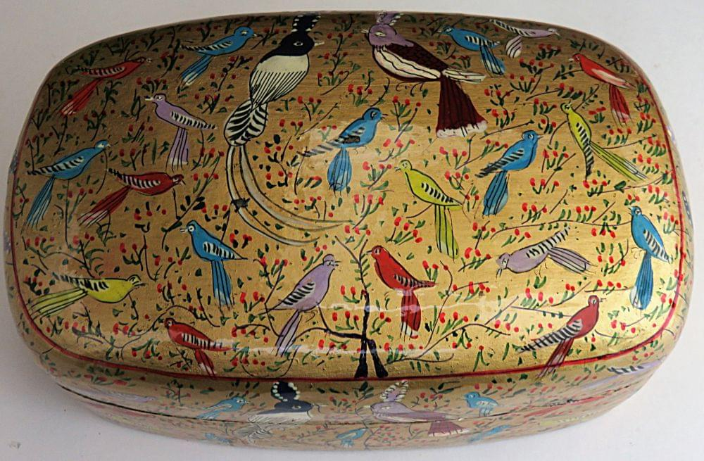 IndicHues Handmade Rectangular Golden Base Birds Design Paper Machie Jewelry Box from Kashmir