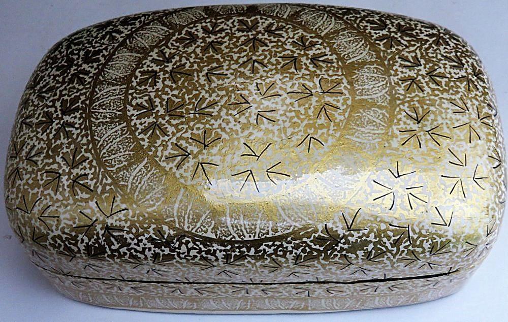 IndicHues- Handmade Rectangular White Golden-Paper Machie Jewelry Box from Kashmir