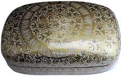 IndicHues Handmade Rectangular White Golden Paper Mache Jewelry Box from Kashmir
