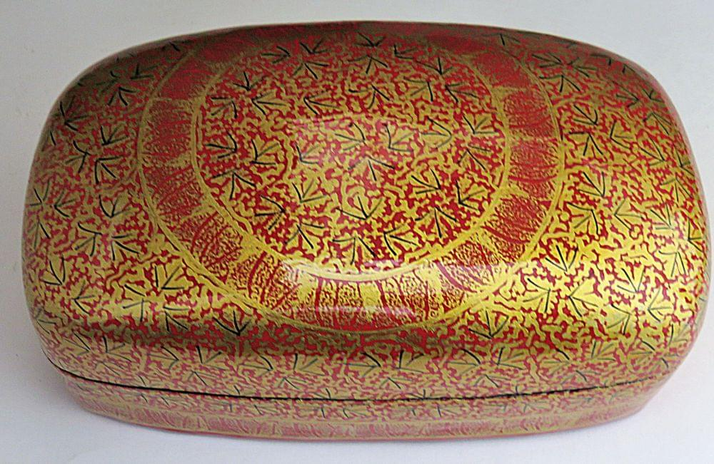 IndicHues- Handmade Rectangular Red Chinar Leaves on Brown Paper Machie Jewelry Box from Kashmir